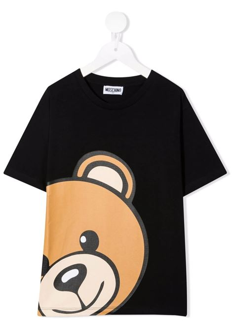 Kids Black Moschino Teddy Bear T-Shirt MOSCHINO KIDS | t-shirts | HXM02XLBA1260100