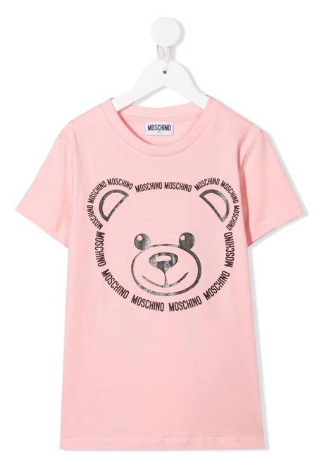 Kids Candy Pink T-Shirt With Logo Teddy Bear Print MOSCHINO KIDS | t-shirts | HYM02SLBA1150209