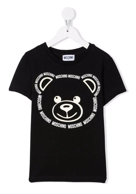 Kids Black T-Shirt With Logo Teddy Bear Print MOSCHINO KIDS | t-shirts | HYM02SLBA1160100
