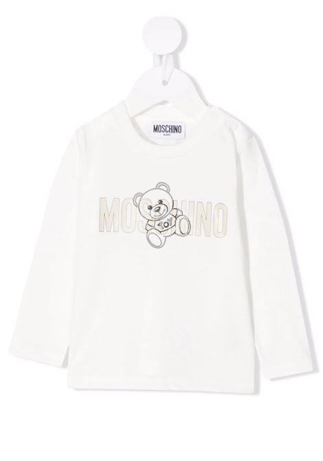 Baby White Teddy Logo Jersey T-Shirt MOSCHINO KIDS | t-shirts | MPO005LAA1010063