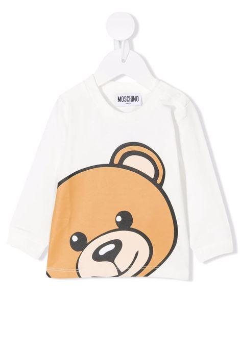 Baby White Moschino Teddy Bear Long Sleeve T-Shirt MOSCHINO KIDS | t-shirts | MUO007LBA1210063