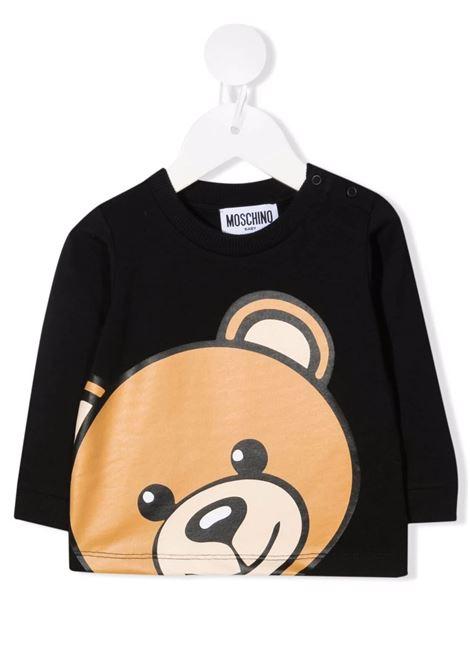 Baby Black Moschino Teddy Bear Long Sleeve T-Shirt MOSCHINO KIDS | t-shirts | MUO007LBA1260100