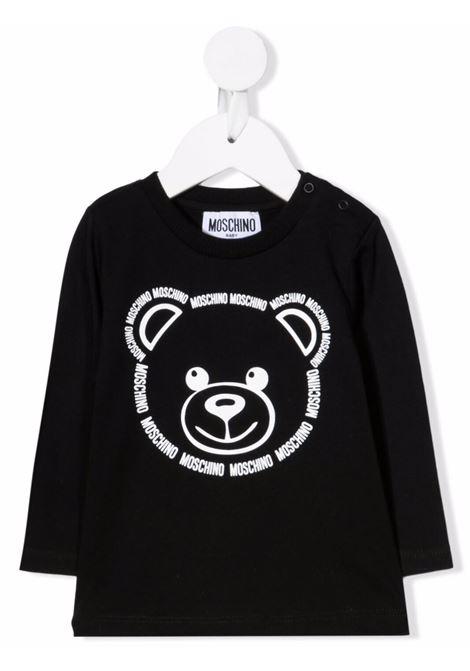 Baby Black T-Shirt With Logo Teddy Bear Print MOSCHINO KIDS | t-shirts | MUO008LAA1060100