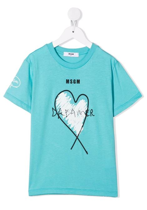 Kids Turquoise T-Shirt With Logo and Dreamer Print MSGM KIDS | t-shirts | MS027825076