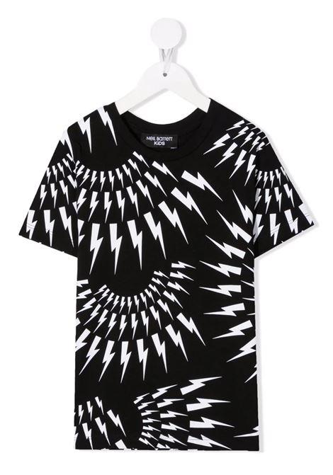 Kids Black T-Shirt With All-Over Fairisle Thunderbolt Motif NEIL BARRETT KIDS | t-shirts | 028928110
