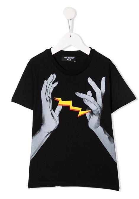 T-Shirt Kids Nera Con Logo e Stampa Grafica Frontale NEIL BARRETT KIDS | T-Shirts | 028935110