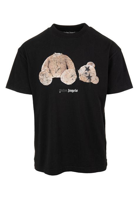 T-Shirt Nera Con Stampa Teddy Occhi Di Stelle Uomo PALM ANGELS | T-Shirts | PMAA001F21JER0271060