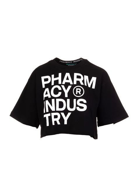 Woman Black Crop T-Shirt With Deconstructed Logo PHARMACY INDUSTRY | T-Shirts | PHWSTCO301NERO