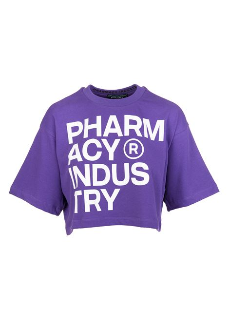 T-Shirt Crop Viola Con Logo Destrutturato Donna PHARMACY INDUSTRY | T-Shirts | PHWSTCO301PURPLE
