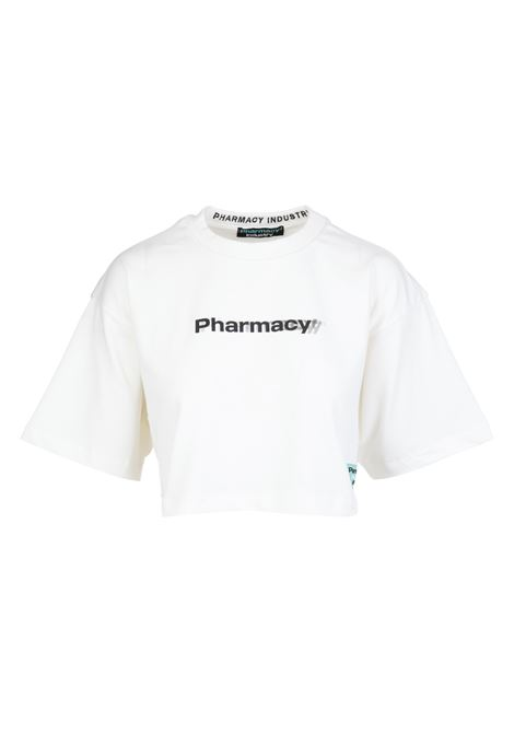 Woman White Crop T-Shirt With Contrast Pharmacy Print PHARMACY INDUSTRY | t-shirts | PHWSTCO307OFF WHITE