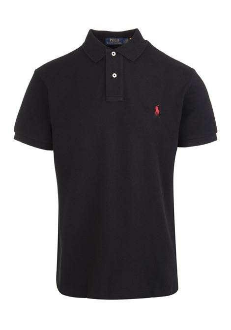 Man Black And Red Slim-Fit Pique' Polo Shirt RALPH LAUREN | Polo shirts | 710-795080006