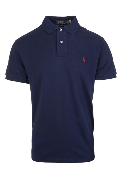 Man Navy Blue And Red Slim-Fit Pique' Polo Shirt RALPH LAUREN | Polo shirts | 710-795080007