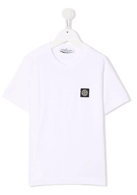 Kids White T-Shirt With Logo Patch STONE ISLAND JUNIOR | t-shirts | 751620147V0001