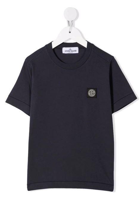 Kids Navy Blue T-Shirt With Logo Patch STONE ISLAND JUNIOR | t-shirts | 751620147V0020