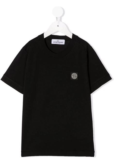 Kids Black T-Shirt With Logo Patch STONE ISLAND JUNIOR | t-shirts | 751620147V0029