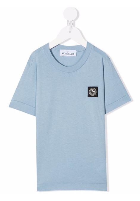 Kids Light Blue T-Shirt With Logo Patch STONE ISLAND JUNIOR | t-shirts | 751620147V0046
