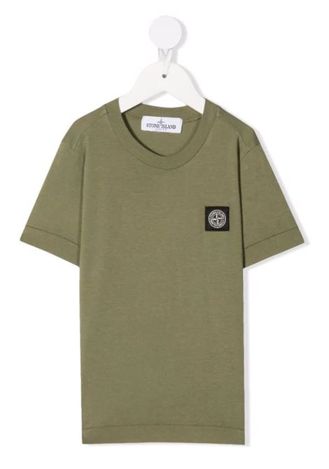 Kids Military Green T-Shirt With Logo Patch STONE ISLAND JUNIOR | t-shirts | 751620147V0055