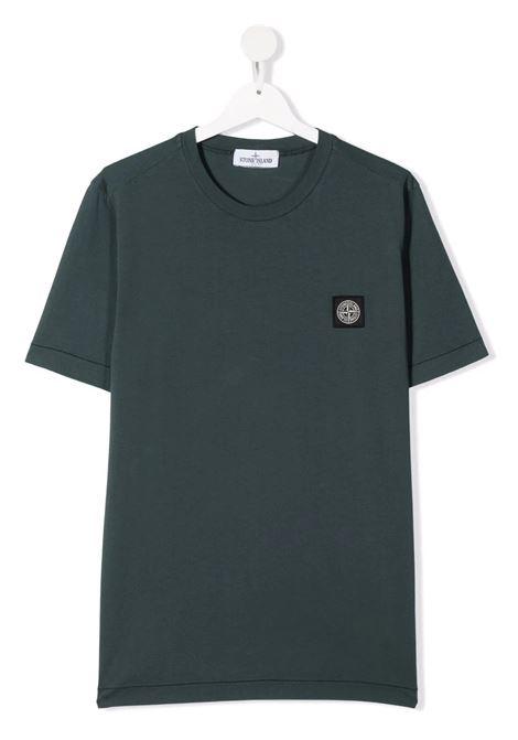 Kids Dark Green T-Shirt With Logo Patch STONE ISLAND JUNIOR | t-shirts | 751620147V0057