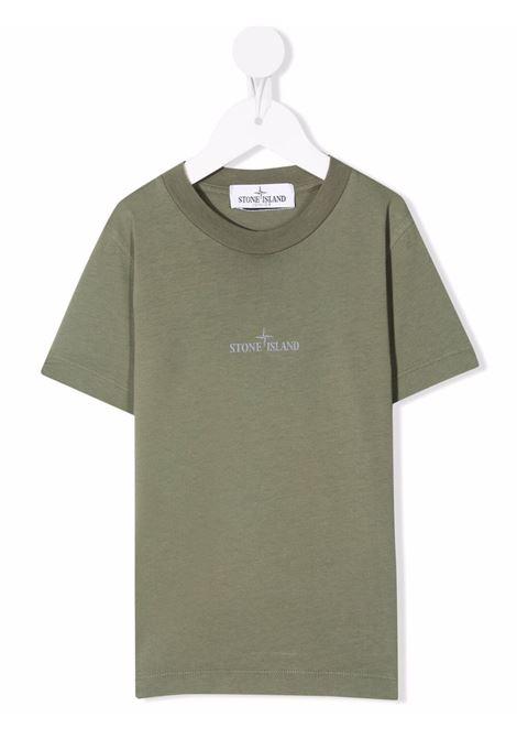 T-Shirt Kids Verde Militare Con Logo STONE ISLAND JUNIOR | T-Shirts | 751621058V0055
