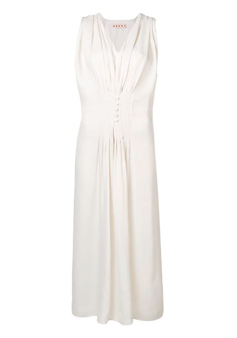 532d5b0303a White Dress With Pleated Detail - MARNI - Russocapri