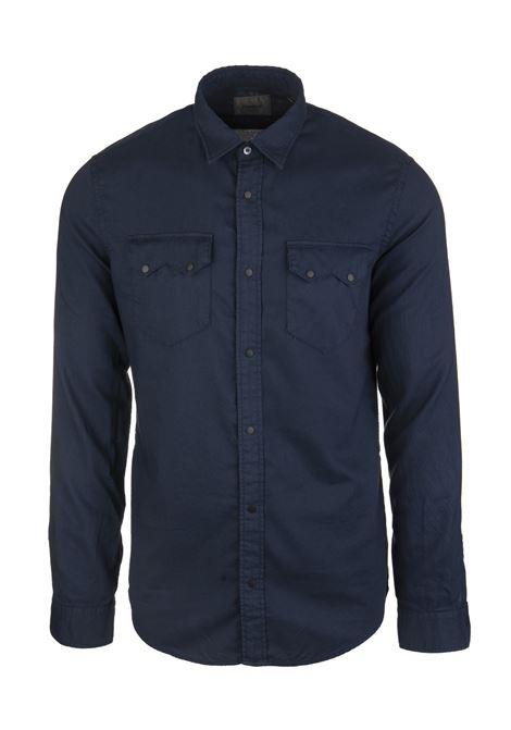 Camicia Blu con Bottoni a Contrasto DONDUP | Camicie | UC212-CF0139 PTD897