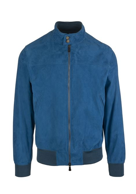 Man Jacket In Royal Blue Suede FEDELI | jackets | 3UE00504VAR.6