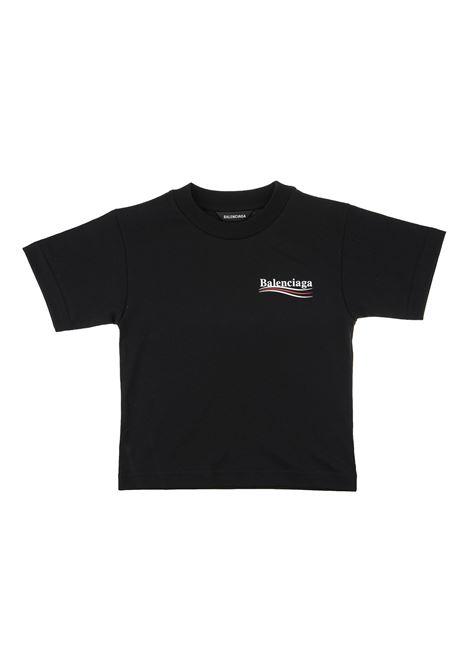 Unisex Kid Black T-Shirt With Political Campaign Logo BALENCIAGA KIDS | t-shirts | 556155-TIVB51070