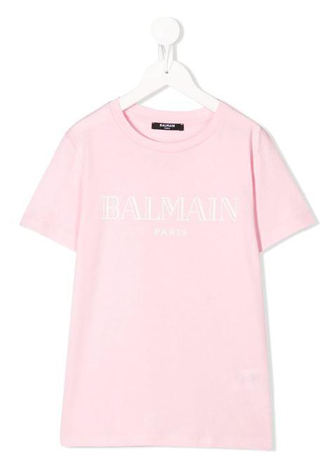 Kid Pink T-Shirt With White Logo BALMAIN KIDS | t-shirts | 6M8721-MX030506