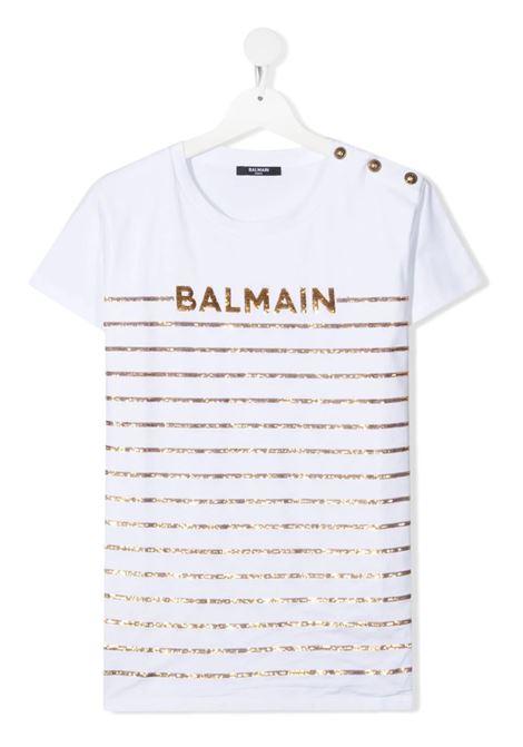 T-Shirt a Righe Bianca e Oro Balmain Bambina BALMAIN KIDS | T-Shirts | 6O8061-OB690100