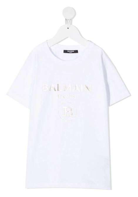 Unisex Kid White And Sliver Logo T-Shirt BALMAIN KIDS | t-shirts | 6O8101-OX390100AG