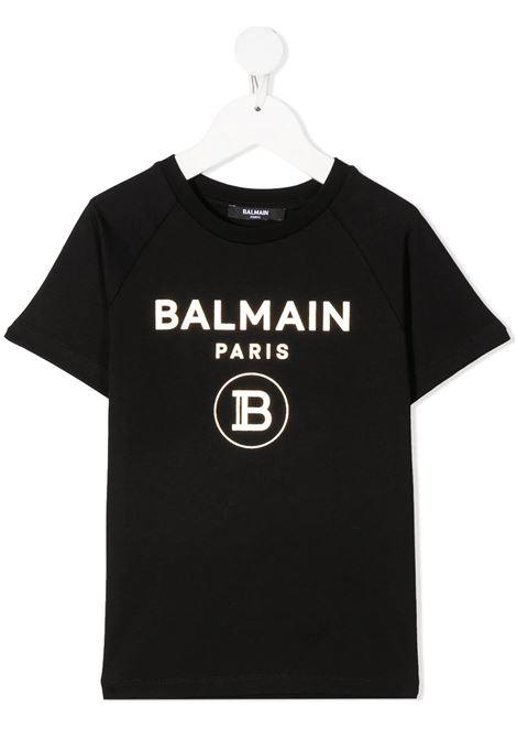 T-Shirt Logo Nera e Oro Bambino Unisex BALMAIN KIDS   T-Shirts   6O8101-OX390930OR