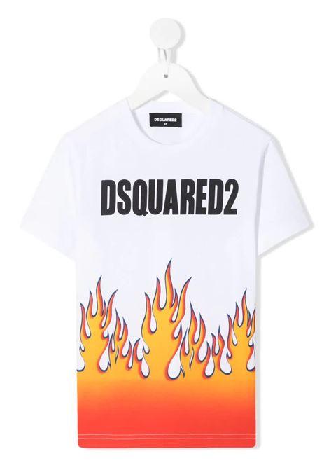 T-Shirt D2Kids Logo Flames Bianca DSQUARED KID | T-Shirts | DQ0198-D0XKDQ100