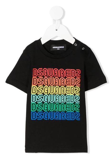 Newborn Black D2Kids Rainbow Logo T-Shirt DSQUARED KID | t-shirts | DQ0175-D004GDQ900