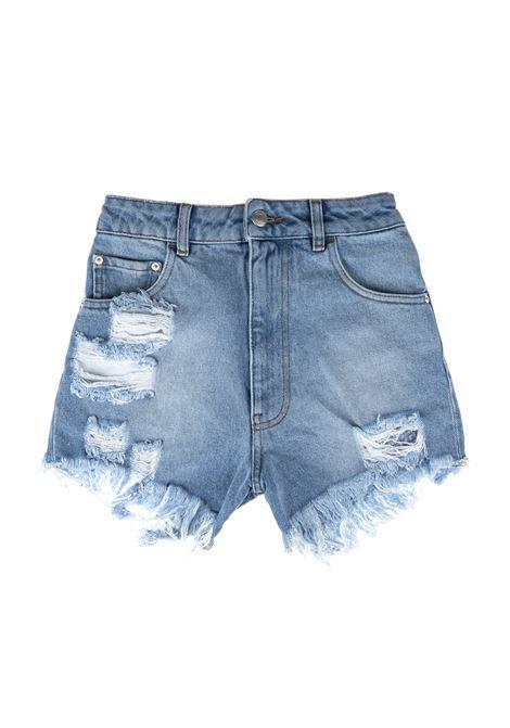 Ripped denim shorts GCDS | Shorts | SS21W030094NIGHT LIGHT BLUE