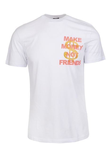 White T-Shirt With Coral Pink Logo and Golden Glitter Dollar MAKE MONEY NOT FRIENDS | t-shirts | MU171153BIANCO