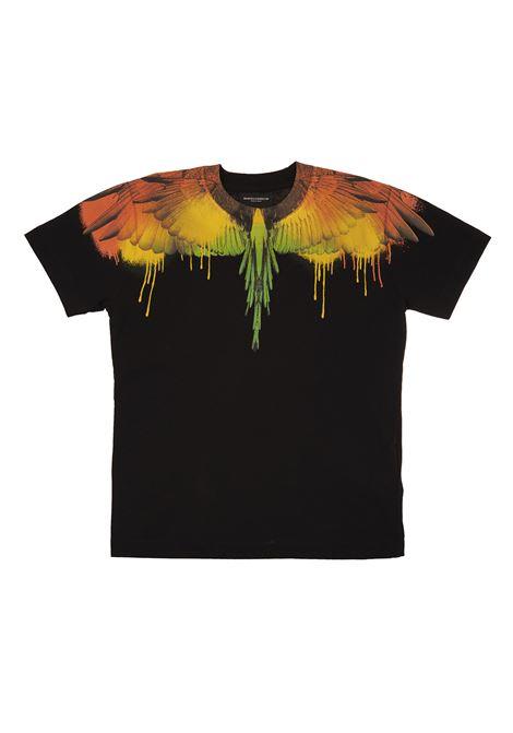 Black/multicolour cotton Wings-print cotton T-shirt  MARCELO BURLON KIDS | t-shirts | 1104-0010B010