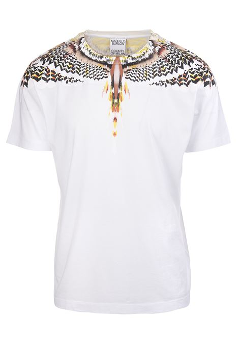 Man White And Yellow Grizzly Wings T-Shirt MARCELO BURLON | t-shirts | CMAA018S21JER0020118