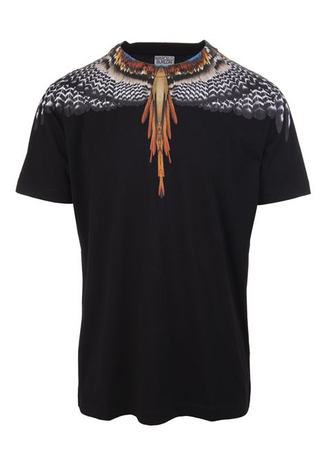 Man Black And Orange Grizzly Wings T-Shirt MARCELO BURLON | t-shirts | CMAA018S21JER0021020