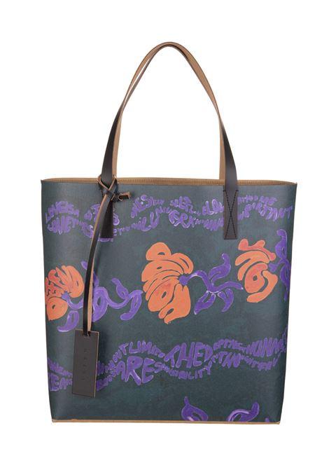 PURPLE FLORAL PRINT SHOPPER BAG MARNI | hand bags | SHMPQ10A08-P4174Z2N65