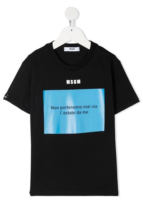 Unisex Kid Black T-Shirt With Light Blue Slogan Box MSGM KIDS | t-shirts | MS026833110/43