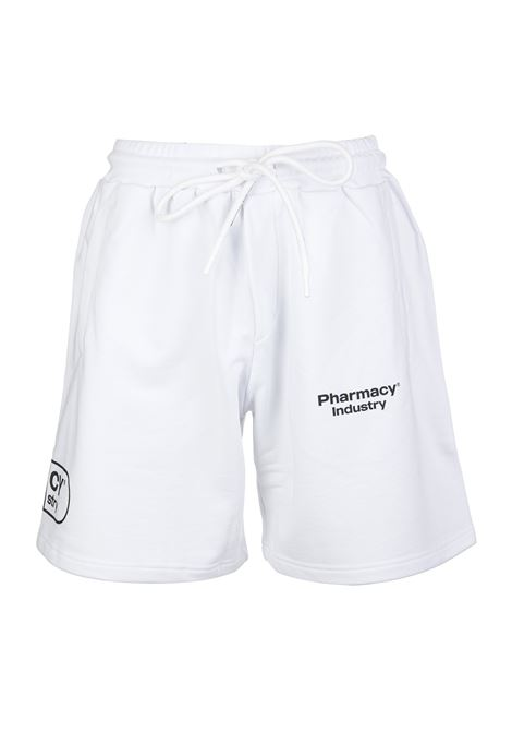 Man White Sports Bermuda Shorts With Logos PHARMACY INDUSTRY | bermuda | PHM203BIANCO