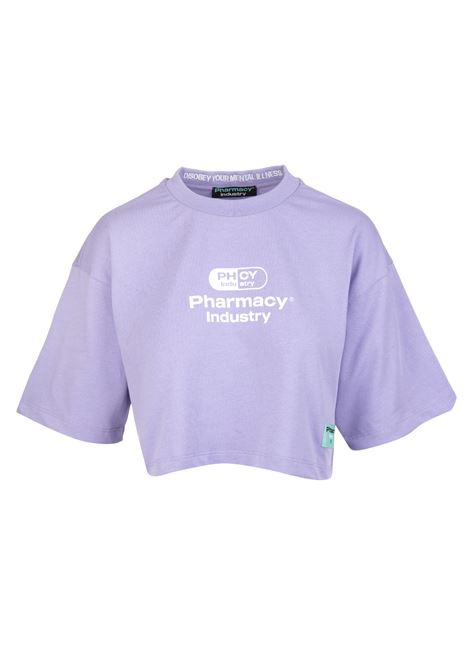 T-Shirt Cropped Lilla Donna Con Logo PHARMACY INDUSTRY | T-Shirts | PHW201LILLA