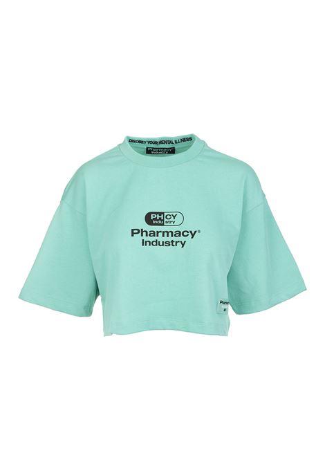 T-Shirt Cropped Menta Donna Con Logo PHARMACY INDUSTRY | T-Shirts | PHW201MENTA