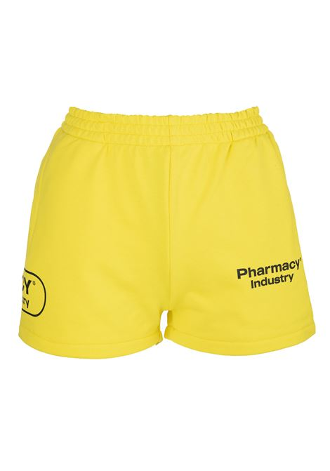 Woman Yellow Shorts With Logos PHARMACY INDUSTRY | Shorts | PHW203GIALLO