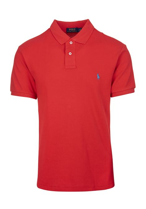 Man Red And Light Blue Slim-Fit Pique' Polo Shirt RALPH LAUREN | Polo shirts | 710-795080011