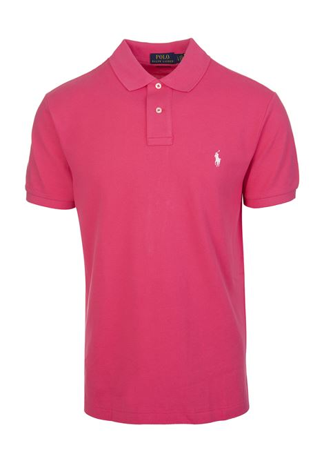 Man Bright Pink And White Slim-Fit Pique' Polo Shirt RALPH LAUREN | Polo shirts | 710-795080012