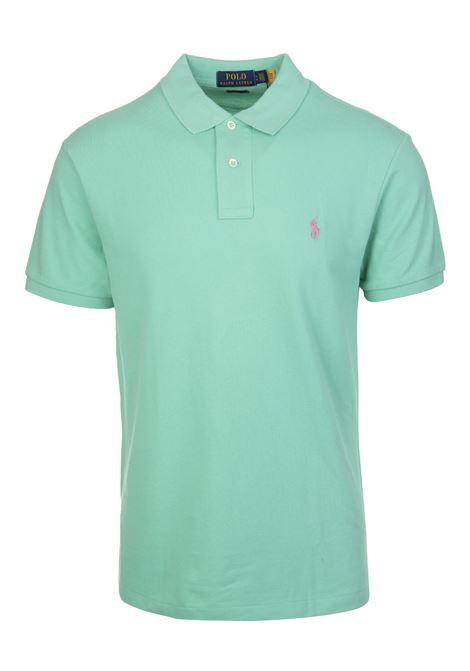 Man Mint Green And Light Pink Slim-Fit Pique' Polo Shirt RALPH LAUREN | Polo shirts | 710-795080020