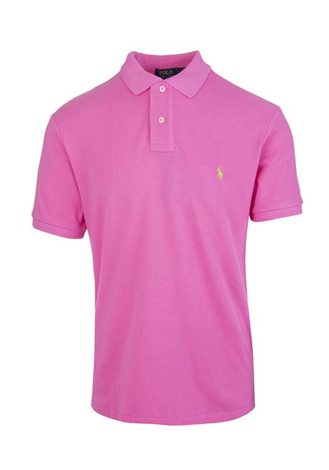 Man Bright Pink And Lime Green Slim-Fit Pique' Polo Shirt RALPH LAUREN | Polo shirts | 710-795080032