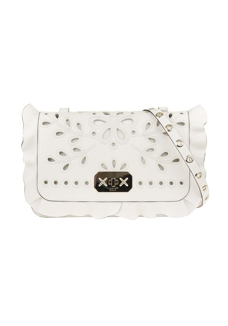 Perforated flower embroidered ruffle trim crossbody bag RED VALENTINO | shoulder bags | VQ0B0C84MZS031
