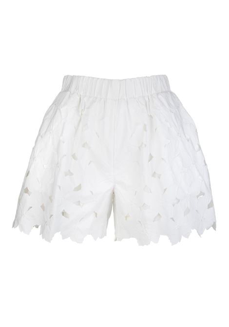 White Woman Shorts With Cut-Out Flowers RED VALENTINO | Shorts | VR0RF00Q5TB0BO